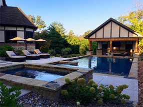 sophisticated stonework for backyard pool