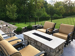 landscape design, hardscape, st. louis hardscape, fire pit, seating area