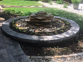 landscape design, hardscape, st. louis landscape, fountain, stone, water feature