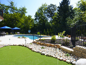 landscape design, hardscape, st. louis landscape, putting green, turf, pool