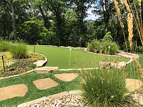 landscape design, hardscape, st. louis landscape, flagstone stepping stones, putting green, artificial turf