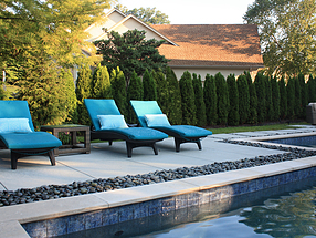 landscape design, hardscape, st. louis landscape, beach pebbles, pool