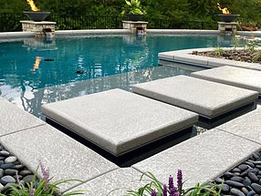 landscape, lighting, st. louis landscape, beach pebbles, liriope, contemporary, stepping stones, pool