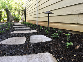 landscape design, lighting, st. louis landscape, stepping stones, pathway, groundcover, pachysandra, fence