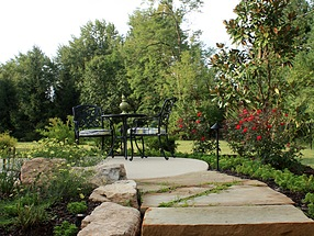 landscape design, hardscape, st. louis landscape, flagstone pathway, creeping jenny, ground cover