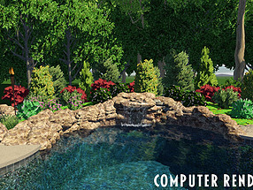landscape design, st. louis landscape, computer rendering, pool, waterfall