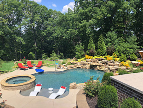 landscape design, st. louis landscape, pool, waterfall, privacy