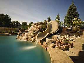 landscape design, st. louis landscape, pool, slide